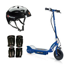 Razor Motorized Rechargeable Blue Electric Scooter w/ Black Helmet & Safety Set