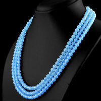 377.00 CTS NATURAL RICH BLUE CHALCEDONY 3 LINE ROUND BEADS HAND MADE NECKLACE