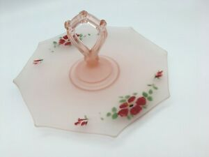 Nice Frosted Pink Pressed Depression Glass Cake Server hand painted Tid Bit Tray