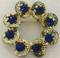 Vintage Pin Brooch Gold Tone Fancy Circle Royal Blue Rhinestone 1.25""