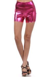 Shorts, Metallic Shorts, High Waist Boy Shorts, Shiny Hot Pink Shorts, Size Med