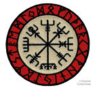 VIKING COMPASS PATCH Vegvisir IRON-ON EMBROIDERED ICELANDIC NORSE RUNE - FANCY photo
