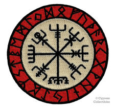 VIKING COMPASS PATCH Vegvisir IRON-ON EMBROIDERED ICELANDIC NORSE RUNE - FANCY