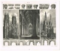 VINTAGE ANTIQUE PRINT 1851 ENGRAVING ARCHITECTURE MEDIEVAL CATHEDRALS DETAILS 2