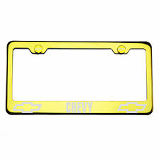 T304 Gold Chrome License Plate Frame Stainless Steel Silver Chevy Laser Etched