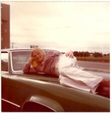 Vintage 1970's Photo Pretty Blonde Girl Posing On Old Car Sexy Original Snapshot