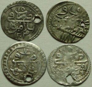 Lot 4 Rare Genuine Islamic SILVER para coins//Mahmud I/Abdul Hamid/Mustafa/Selim