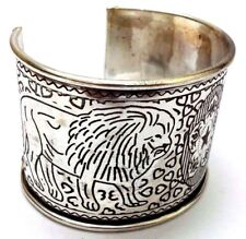THE LION Silver Oxidized Cuff Bracelet Charm Wristlet Wrist Band Bangle Jewelry