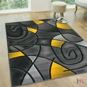 Yellow/Grey/Silver/Black/Abstract Area Rug Modern Contemporary Circles and...