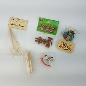 Vintage Dollhouse Miniatures Accessories LOT  lamp, broom, mop, rocking horse +