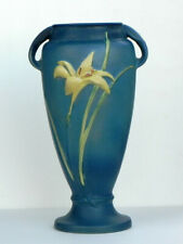 Roseville Art Pottery Original 141-15 Zephyr Lily Vase Deep Blue 100% Flawless