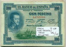 SPAIN BUNDLE 25 NOTES 100 PESETAS 1925 P 69 VF+/XF