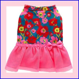 Top Paw Floral Dog Dress Hot Pink Ruffle Tulle Skirt Blue Red Pink Floral Top S