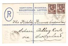 Northern Rhodesia RGEISTERED POSTAL ENVELOPE-HG:C1-uprated SG#2(x2)-BROKEN