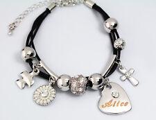 ALICE Cuir Charme Bracelet 18k Plaqué Or - Personnalisé Bijoux Petite amie Mode