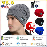 Bluetooth Music Warm Beanie Hat Wireless Smart Cap Headset Headphone Speaker USA
