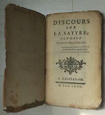 1763 DISCOURS SUR LA SATYRE traduit de l'italien