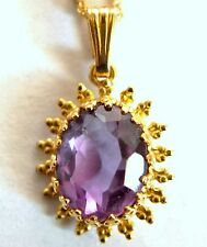 Very Nice 14K Solid Yellow Gold and Large Amethyst  PendantNecklace with Chain
