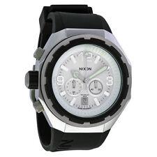 Nixon Steelcat Chronograph White Dial Black Silicone Mens Watch A313-100