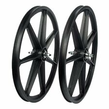 "24"" BMX BLACK Skyway Tuff II Wheel 2 Mag WHEELSET Black 24"" Freewheel WHEEL SET"