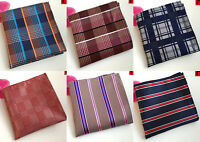 Pocket Square Handkerchief Hanky Blue Red Pink Purple Orange Stripe 100% Silk