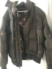 Triple FAT Goose Down Parka XL Mens Brown Winter Coat Faux Fur Hood Trim