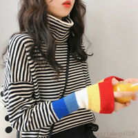 New Korean Women Stripe Turtleneck Pullover Jumper Knit Sweater Shirt Blouse Top
