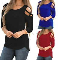 Women 3/4 Sleeve Crisscross Strappy Pure Color Cold Shoulder T-Shirt Tops Blouse