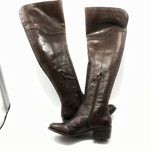 ✅❤️✅7 Vince Camuto Boots Bestan Grommet Over-The-Knee Heel Carob Leather 10M 40