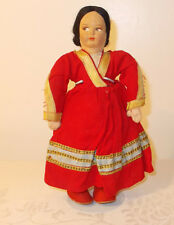 """Antique Lenci Type Hard Stuffed Cloth 9"""" Girl Doll Made In Italy"""