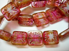 12 14mm Etched Pink Blend Picasso Czech Glass Square Window Beads