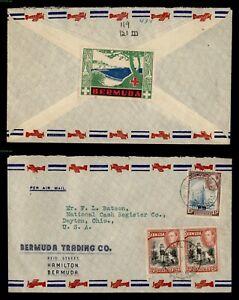 DR WHO 1941 BERMUDA HAMILTON AIRMAIL TO USA + LABEL C243353