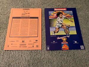 1989 Newsweek Champions Cup Tennis Pairing Sheet w/cover 3/14 Yannick Noah