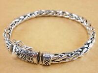 "New Bali Tulang Naga Foxtail Franco Wheat 925 Sterling Silver Bracelet 7.75"" 38g"