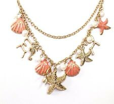 ED32 Coral Hand Painted Sea Shell Pearl Layered Statement Necklace