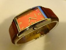 DKNY All Stainless Steel Watch Red Leather Band NY-1103