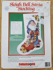 Dimensions NEW Unopened Sleigh Bell Santa No Count Cross Stitch Stocking 8420