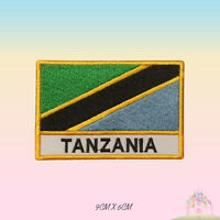 Tanzania National Flag With Name Embroidered Iron On Patch Sew On Badge Applique