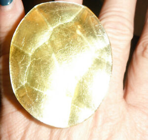 gerda lynggaard monies Faceted citrine yellow sz 8 Ring Textured Deco polytesin