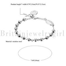Beaded Prayer Bracelet for Men Women Stainless Steel Religious Virgin Mary Cross