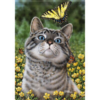 """Buttercup Cat House Flag  28"""" x 40"""" Double sided Flag by Carson"""