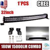 32inch Curved LED Light Bar 180W Offroad Single Row Combo Truck RZR 4D Optical