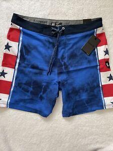 NWT MENS HURLEY PHANTOM ANDINO American Flag blue  SWIM BOARD SHORTS Phantom  32
