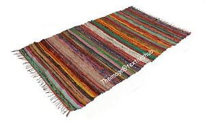3x5 Ft Indian Chindi Rug Floor Yoga Mat Area Rug Mat Carpet Handwoven Home Decor