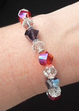 """NEW 7"""" Handmade Red & Purple AB Helix Glass Bead Bracelet for Hat Society Lady"""