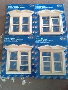 Lot 4 New dollhouse miniatures Double Hooded Victorian Working Windows Sale Pric
