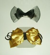 VINTAGE HAIR BOW ACCESSORIES x 2 WITH CLIPS KIDS OR ADULTS BLACK & GOLD B NEW