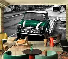 3D Green British Car G130 Transport Wallpaper Mural Self-adhesive Removable Wend