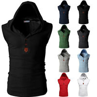 Mens Muscle Hoodie Tank Top Bodybuilding Gym Sleeveless Hooded Vest T Shirt Tees