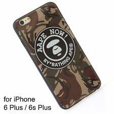 A Bathing Ape Bape Aape Brown Camo Cover Silicone Case iPhone 6 Plus  6s Plus